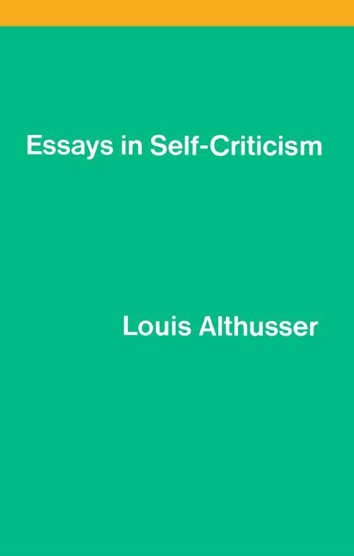 verso 9781786632005 9781786632005 essays in self criticism